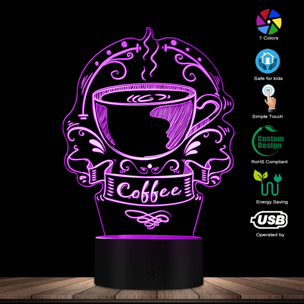 Customized Coffee Logo Decorative Lighting Art Colorful Coffee House Business Sign Caffeine Cafe Logo 3D Led Night Light Gift
