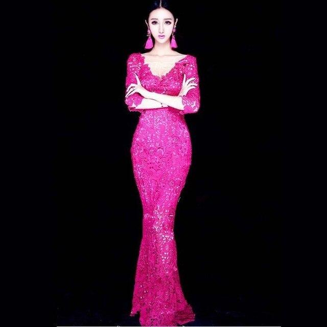 Rosa fuerte del verde esmeralda de noche largo del cordón vestido de ...