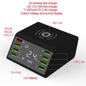 Image 5 - QC 3.0 Quick Charger 8 Ports USB Hub Charging Dock Station Qi Wireless Fast Charger with Voltage/Current Display for iphone