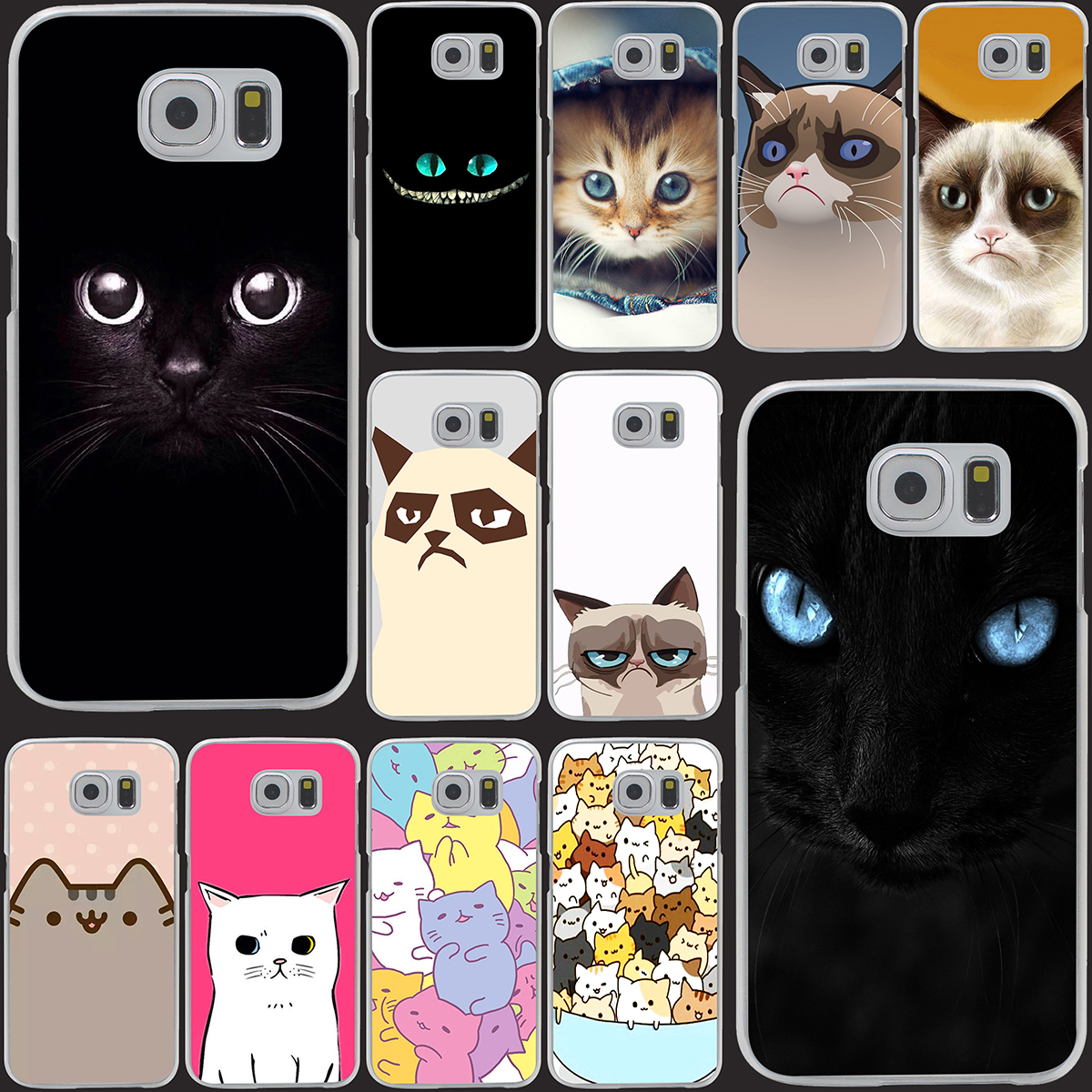 288Z- Black cat back Hrad Style Case Cover for Samsung Galaxy S5 S4 S3 I9600 I9500 I9300 1PC