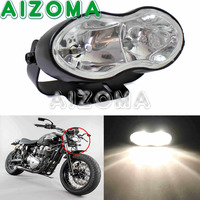 Black Streetfighter Double Oval Wave Headlight Universal Mount Twin Cateye Custom Headlamp For Harley Honda Kawasaki Cafe Racer