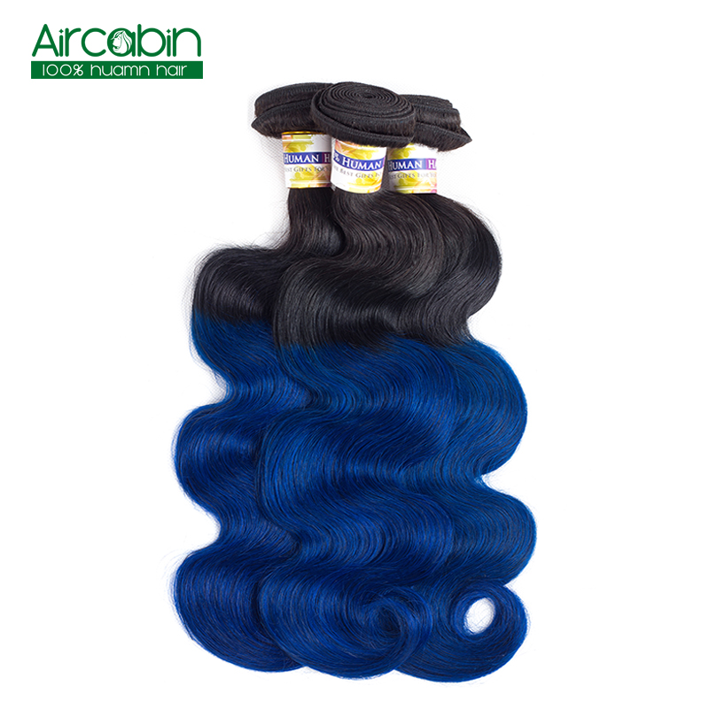 Pre-Colored T1B/Blue Peruvian Body Wave 3 Bundles Ombre Dark Roots Blue Hair Weave Bundles AirCabin Non Remy Extensions