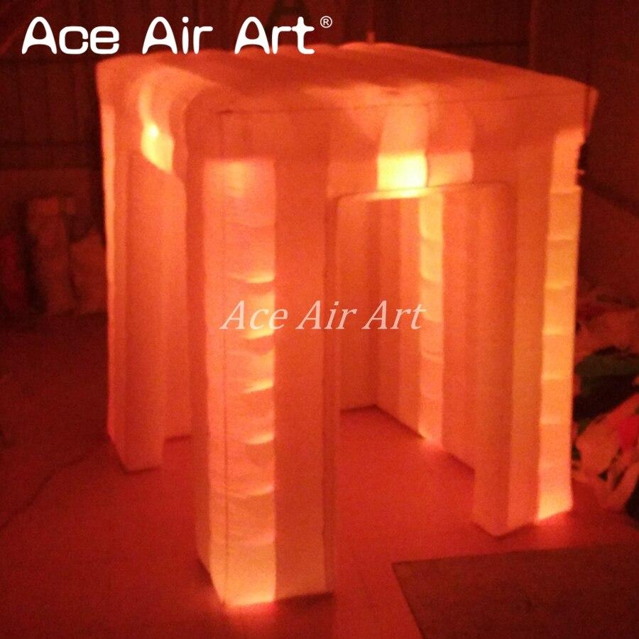 2b5cfe02b3052 Красочные fashional LED Надувные Портативный Photo Booth корпус для события  с 2 Дверные рамы бок