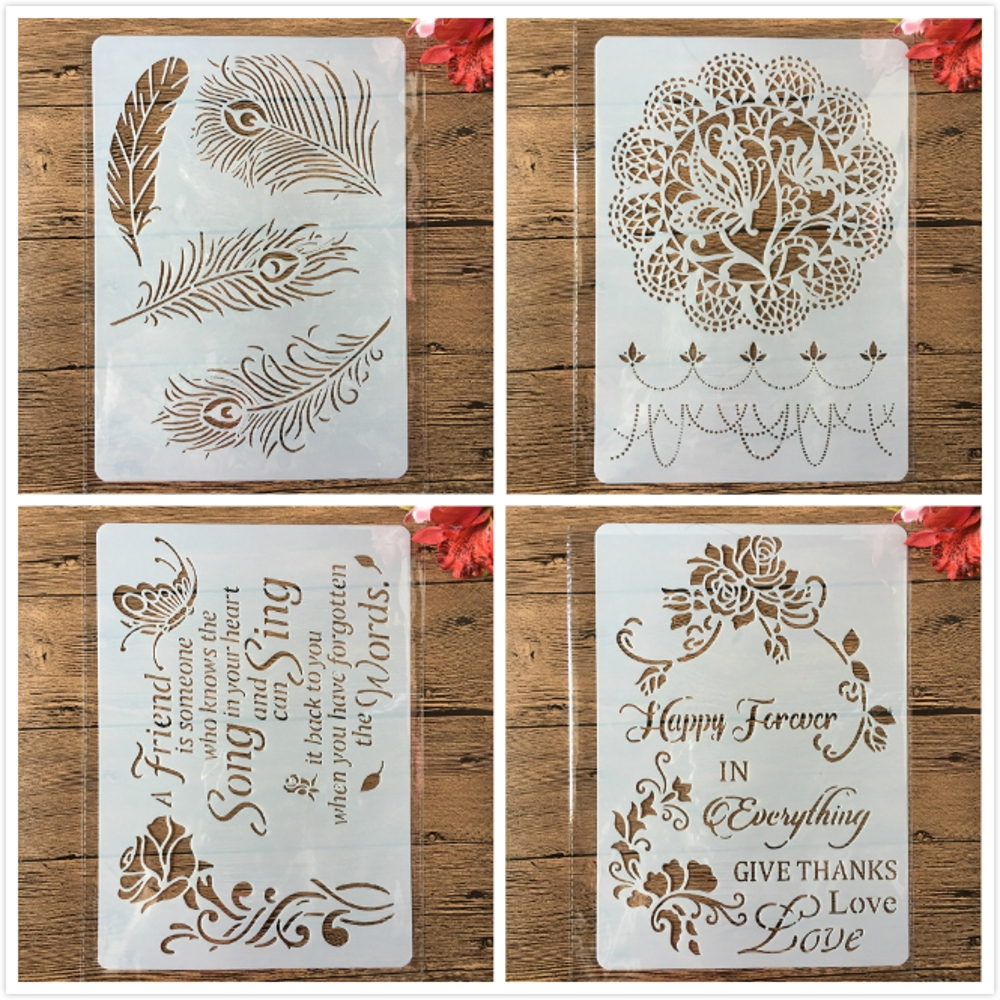 4Pcs A4 Feather Butterfly Flower Words DIY Layering Stencils Painting Scrapbooking Stamping Embossing Album Card Template