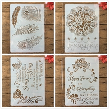 Layering Stencils Painting Embossing Album-Card-Template Scrapbooking Flower Words Stamping
