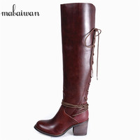 Mabaiwan/модные женские ботфорты; обувь на толстом высоком каблуке с перекрестной шнуровкой; женские туфли лодочки; удобные зимние высокие сапо