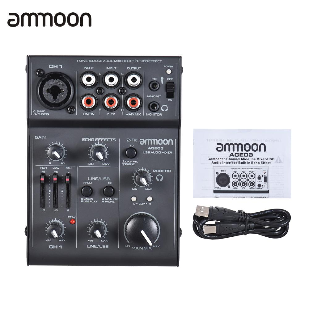 New Arrival ammoon AGE03 5-Channel Mini Mic-Line Mixing Console Mixer with USB Audio Interface Built-in Echo Effect USB PoweredNew Arrival ammoon AGE03 5-Channel Mini Mic-Line Mixing Console Mixer with USB Audio Interface Built-in Echo Effect USB Powered