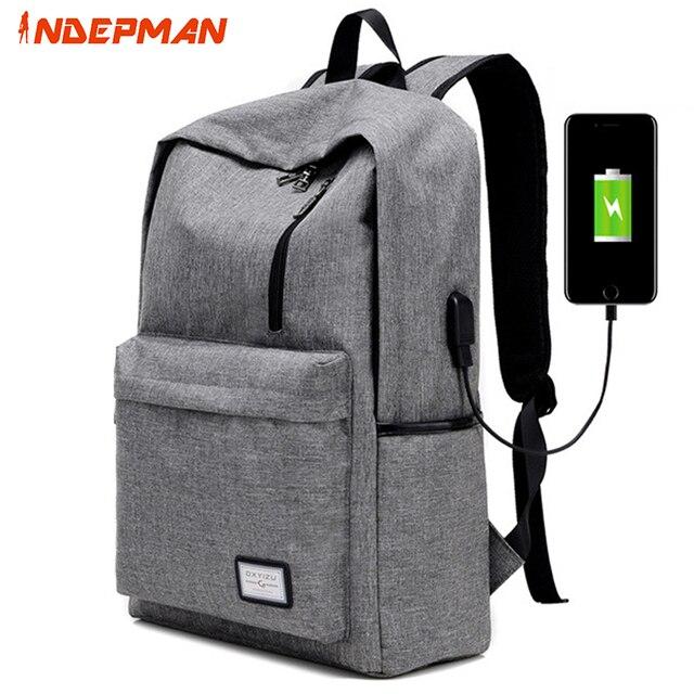 Women Canvas Shoulder Backpack Usb Available Solid Zipper Men S