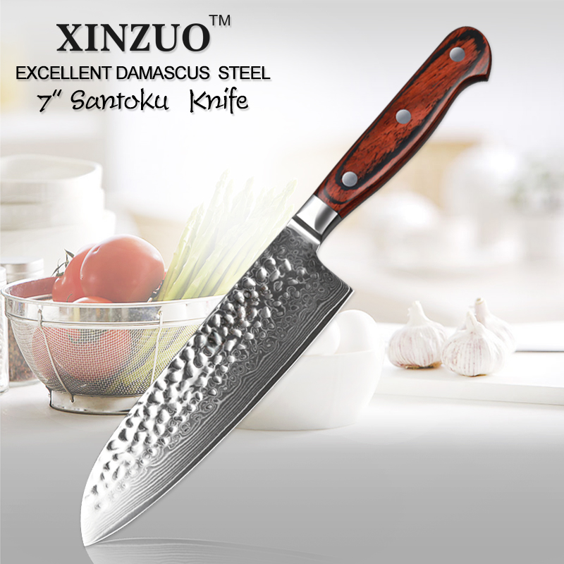 "XINZUO 7 ""inch Santoku Mes Japanse Damascus Super Staal Keukenmessen VG10 Core Vlees Groente Mes met Pakka Houten handvat-in Keukenmessen van Huis & Tuin op  Groep 1"