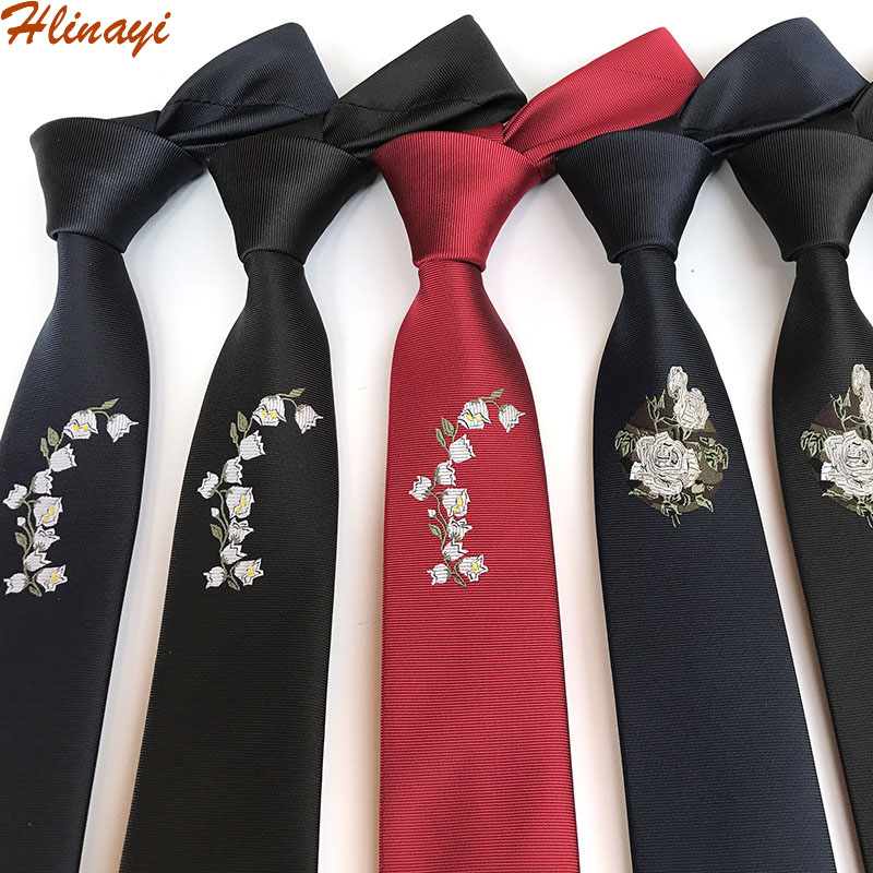Hlinayi Men's Narrow 6cm Polyester Rose Embroidered Tie