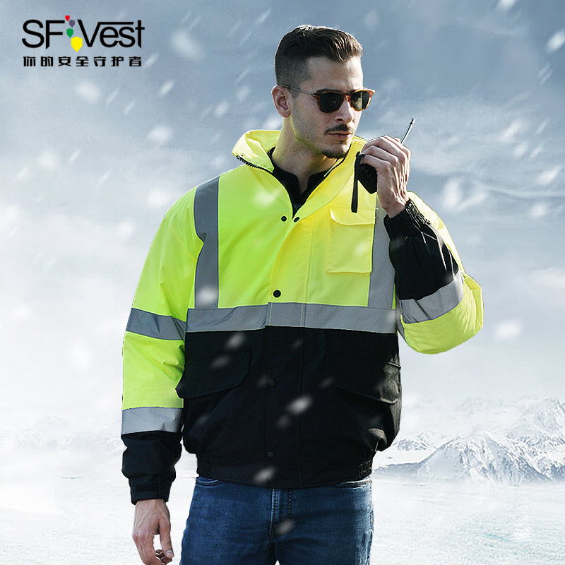 Men's Two Tone High Visibility Winter Jacket Waterproof Reflective Safety Bomber Jacket Workwear  Free Shipping