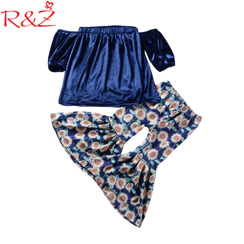 R&Z 2018 Toddler Kids Baby Girls Clothing Off shoulder Tops Short Sleeve Sunflower Printed Loose Pants 2Pcs Clothes Girl 1-6T toddler girls kids clothes sets off shoulder tops short sleeve denim pants jeans headbands 3pcs outfits set clothing