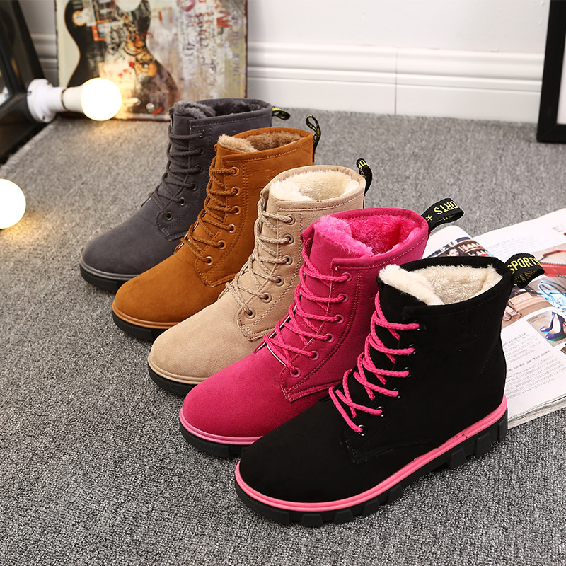 f3b6e7dc5fe4 2018 neue Schnee Stiefel Martin Winter Plus Baumwolle Damen Schuhe Wärme  Bota Feminina Salto Botas Coturnos Flache Stiefel Frauen Spitze up