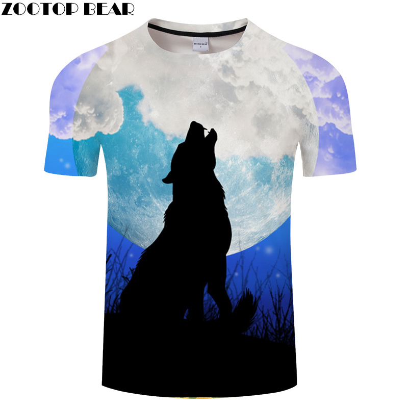 Moon 3D tshirts Men Wolf T shirt Print t-shirt Harajuku Tees Streatwear Tops Unisex Short Sleeve O-neck Drop ship ZOOTOP BEAR