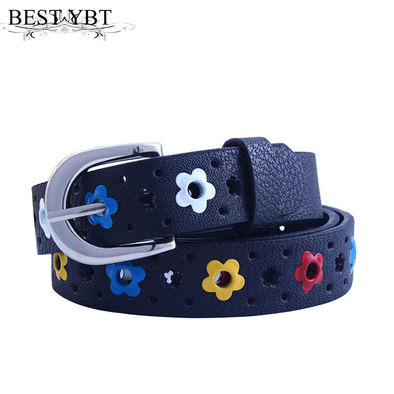 Best YBT Girl New Hollow Butterfly Flowers Children Boys Girls Lace Alloy Pin Buckle Belt Brand Casual Decorate PU Leather Belts