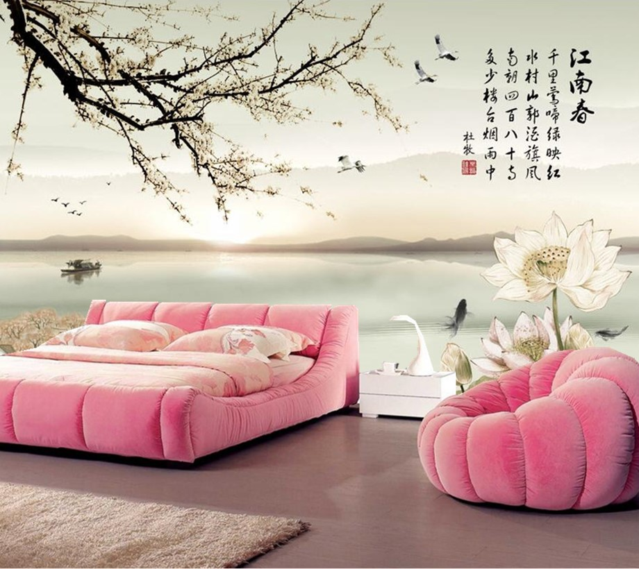 Large 3d wallpaper,Beautiful Chinese landscape painting murals ...