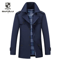 Spring and Autumn New Jacket Men's Medium and long section Casual Jacket Men's Lapel Windbreaker Jacket Coat 2732