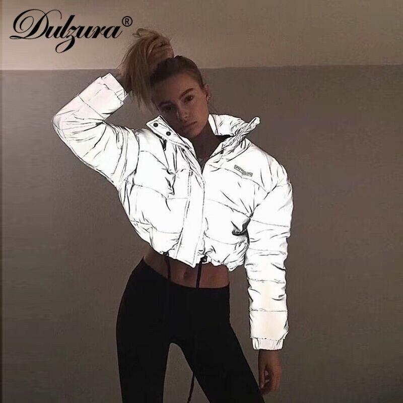 Dulzura flash réfléchissant femmes rembourré veste courte tops chaud 2018 automne hiver solide fermeture éclair lâche surdimensionnée outwear manteaux casual
