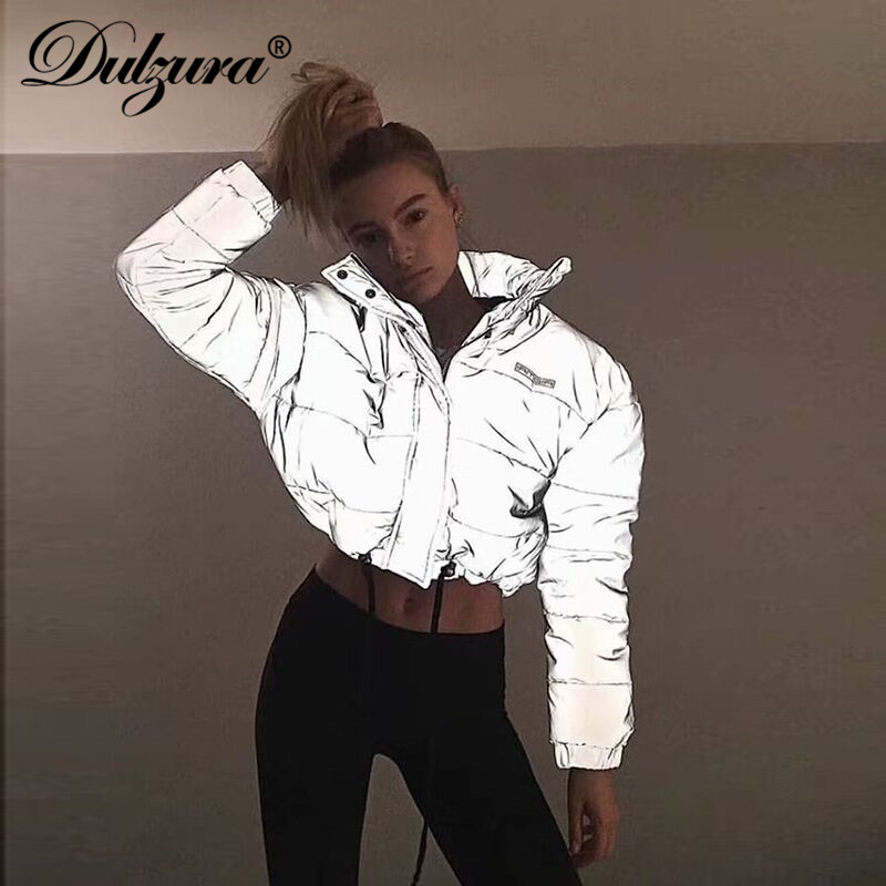 Dulzura Flash Reflective Women Padded Jacket Short Tops Warm 2018 Autumn Winter Solid Zipper Oversize Loose Outwear Coats Casual
