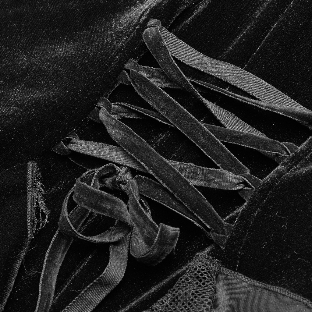 PUNK RAVE Delle Donne Gotico Quotidiano Vestito Lungo Increspature Del Merletto Del Velluto Splendido Slim Fit Da Sera Del Partito di Abiti Retro Delle Donne Abiti - 5