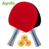 Agnite Beginner Table Tennis Rackets straight grip horizontal grip 2 rackets 3 balls game training set sport supplies wholesale