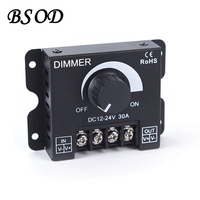 30A Rotating LED Dimmer DC12/24V Max 360W Adjustable Brightness Strip Single Color Light LED Controller for Strip 5050 3528|led controller remote|led 2dled backlight control -