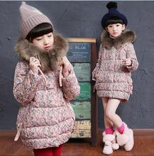 High quality Winter Girls Warm Coat Baby Long Sleeve Outerwear Baby Clothes Flower Cotton Jacket Children Coat TMY30