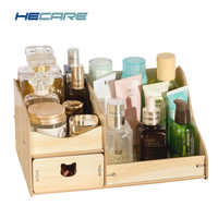 HECARE Make Up Organizer DIY Wood Organizer Cosmetic With Drawers Organizador de Maquiagem Rangement Wooden Box for Cosmetic Toy