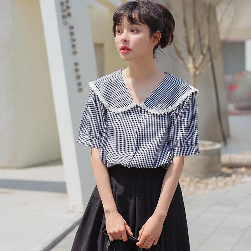 Korean Sailor Moon Embroidery New Tops Fashion Female Large Size Loose Casual Female Summer Half Sleeve O-neck Fun Sweet Shirt Elegant Shape Blouses & Shirts