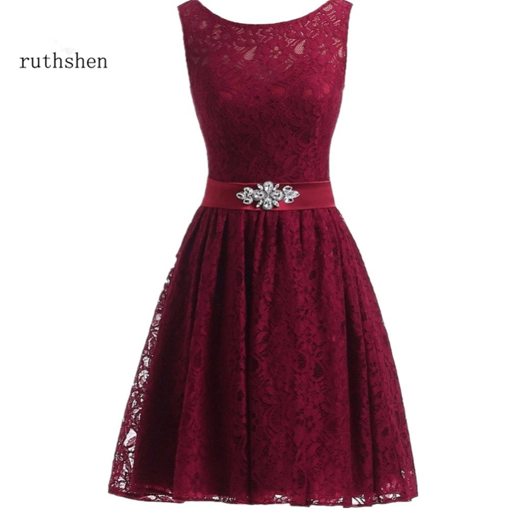 ruthshen In Stock New Arrival Hot Sexy Colorful Lace Zipper Back Women's Knee-Length A-Line   Cocktail     Dresses   With Belt