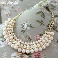 Fashion Imitation Pearls Chunky Necklace Vogue Designed Collar Banquet Statement Necklace For Women