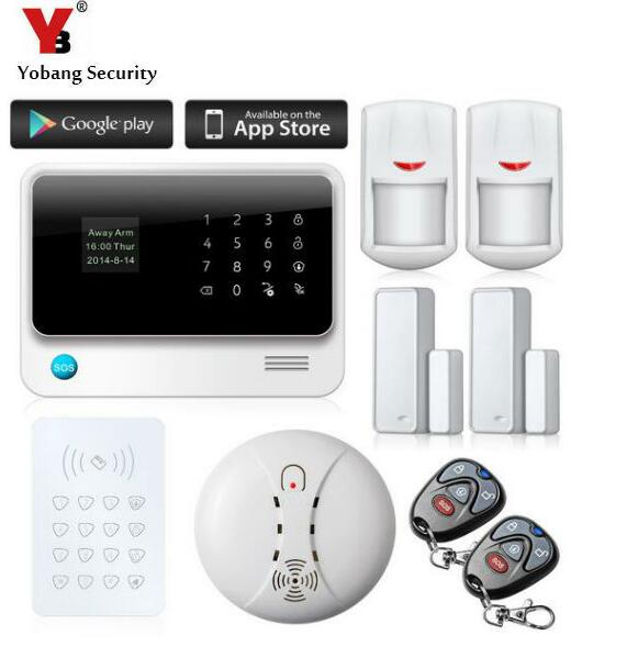 YobangSecurity Touch Screen GSM WIFI Intruder Alarm System Security Home APP Control RFID Keypad Smoke Fire Detector minritech 110 220v wireless smoke fire detector smoke alarm for touch keypad panel wifi gsm home security system