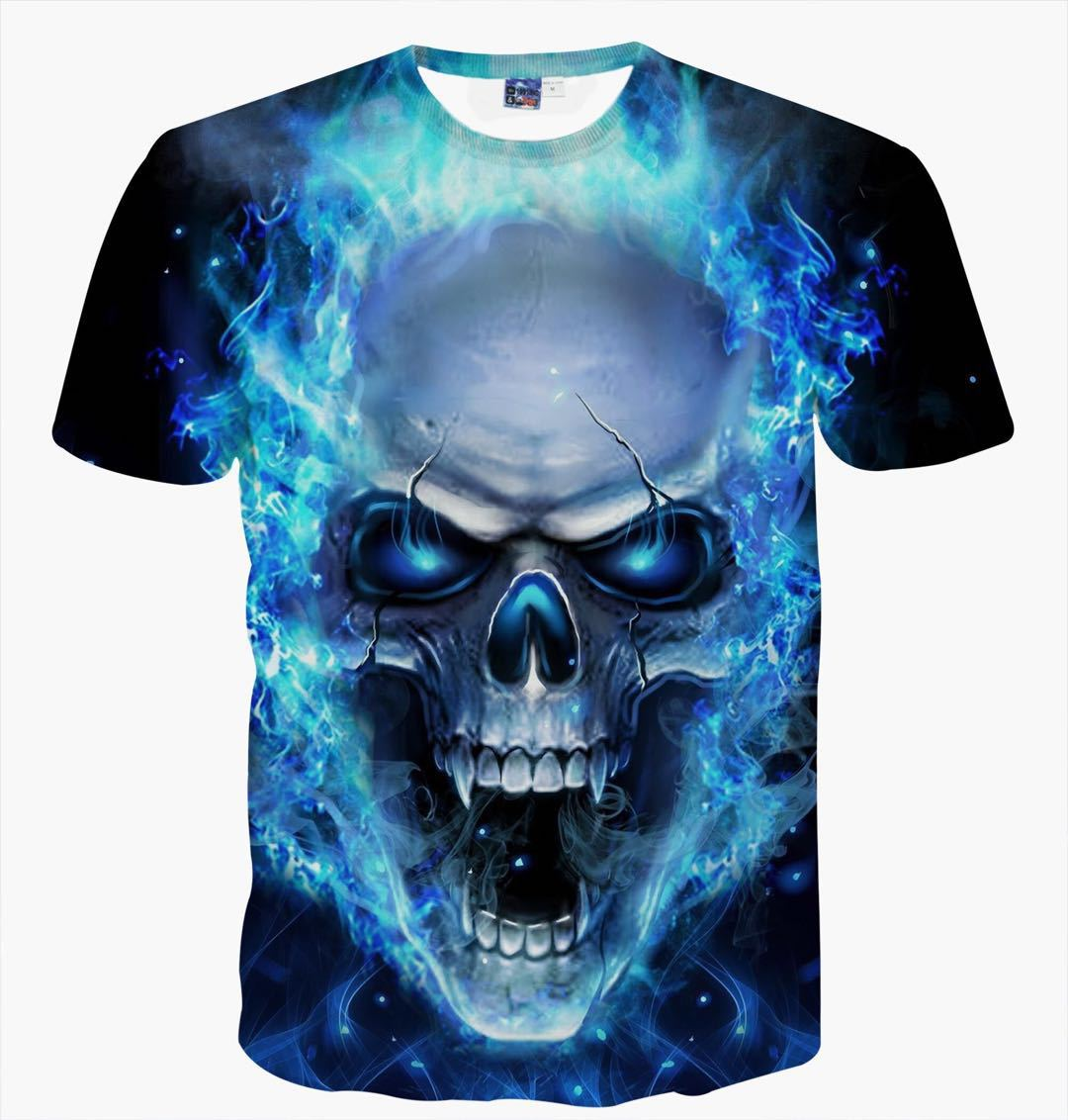 2018 Summer 3D Printed Skull WomenMen's O-neck T-shirt Printing Flame Short-sleeved Blue Couple Tee Fashion Loose T-shirts