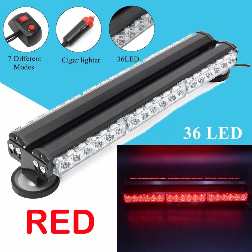 CYAN SOIL BAY Emergency Strobe Light Bar 36 LED 108W Car Roof Top Warning Flashing Lighting Red Flash Lamp 8x4 magnetic 32 led blue red flashing strobe light for roof top plug n play 5pcs