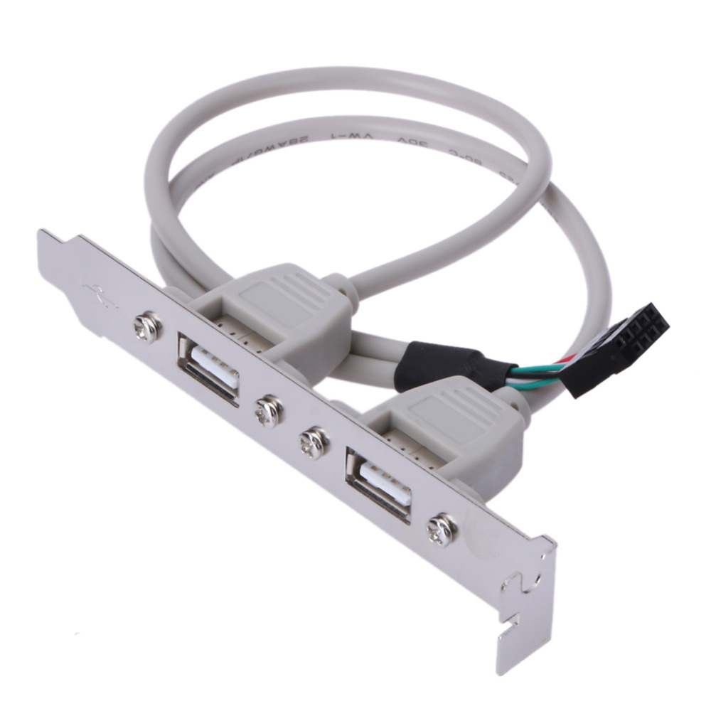 External 2 Ports USB Rear Panel Bracket Motherboard Cable USB 2.0 Connector Cable Adapter Computer Accessories White