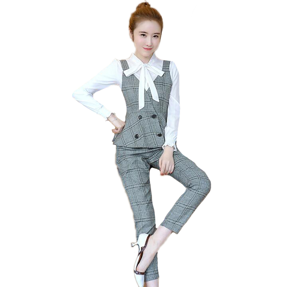 Korean Style Three-piece Lattice Professional Wear Womens Business Office Set of Female Slim Casual Pants Overalls