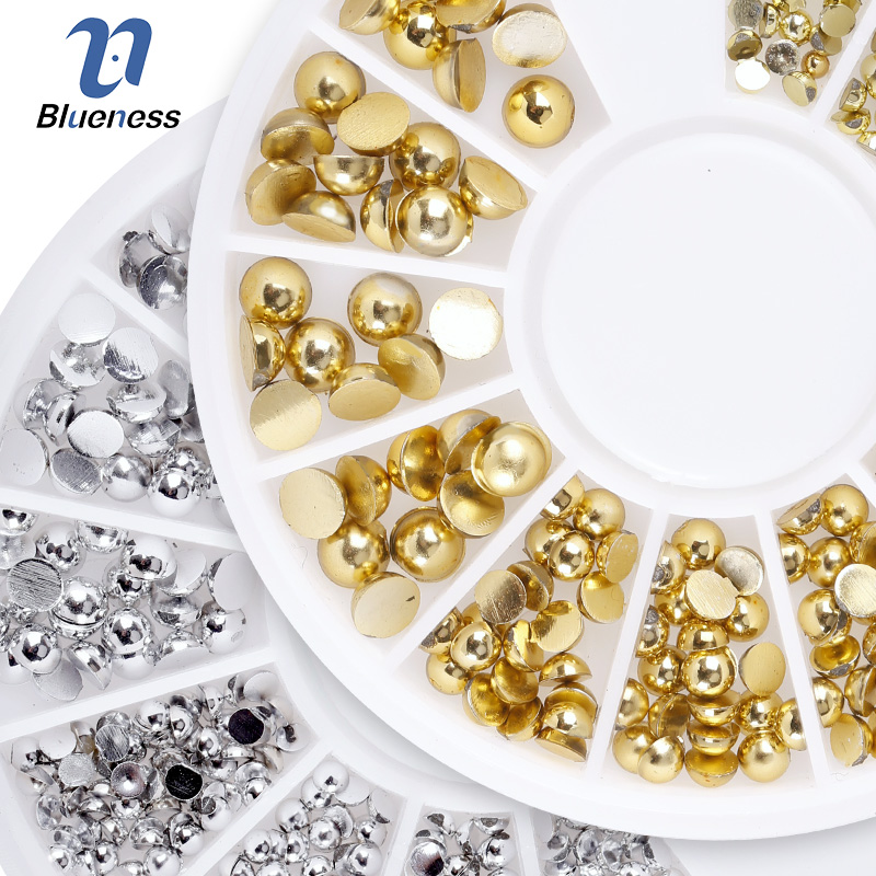 Blueness 1 Wheel Gold Silver Pearl Mixed 3 Sizes Nail Rhinestone 3D Nail Decoration Studs DIY Manicure Nail Art Stickers ZP291 rose gold silver black nail beads caviar studs multi size diy 3d nail art uv gel lacquer decoration in wheel manicure accessorie