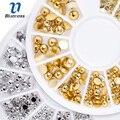 Blueness 1 колеса золотистая, серебристая, перламутровая Смешанные 3 размера ногтей горный хрусталь 3D украшение ногтей шпильки DIY маникюр дизайн ногтей наклейки ZP291 - фото