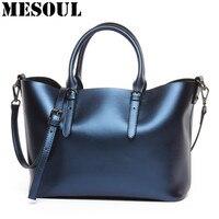 Luxury Design Women S Genuine Leather Casual Tote Purse Fashion Shoulder Handbag Ladies Blue Large Capacity