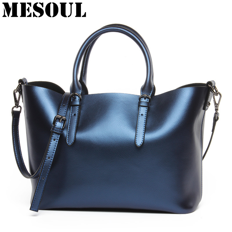 Luxury Design Kvinnors äkta läder Casual Tote Purse Fashion Shoulder Handväska Ladies Blue Stor Kapacitet Shopping Bag Bolsos