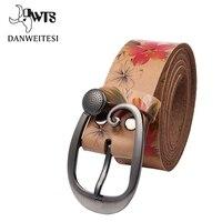 [Dwts] Для женщин ремень дамы Fower печати Роскошная брендовая натуральная кожа ремень женский ремень Ceinture Femme модные джинсы ремни для для женщин