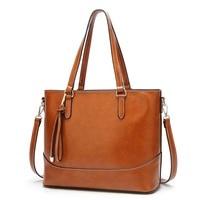 Genuine Leather Bag Handbag Women High Capacity Woman Tote Retro Simple Style Women Elegant Tote Bag Classic Shopper 2019 C817