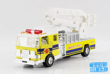 1PC 18cm Tia Alloy car model more emergency fire truck Overhead working truck lift car gifts