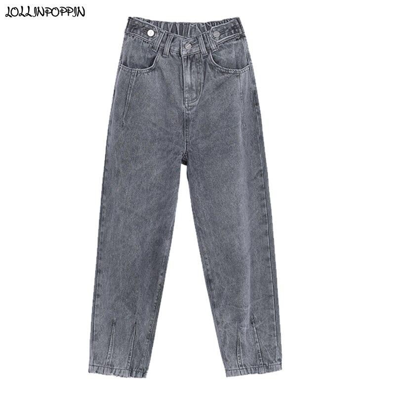 Vintage femmes rétro lavé Jeans longueur cheville taille haute lâche coupe Denim pantalon dames goutte entrejambe Harem Jeans