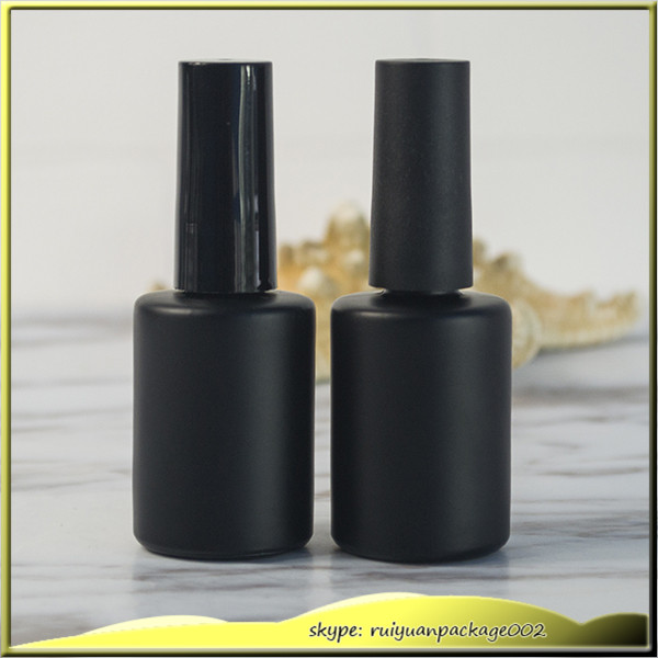 100pcs * 10ml Matt Black Glass Round Empty UV Gel empty nail polish ...