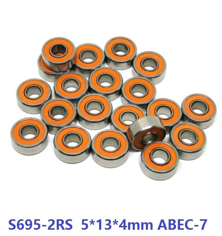 6 pcs ou 10 pcs S695-2RS 5x13x4mm ABEC-7 Acier Inoxydable hybride Si3n4 roulement en céramique 695RS 695 2RS CB LD moulinet de pêche 5*13*4