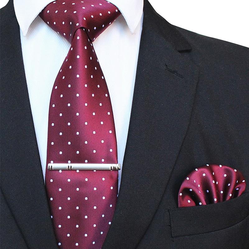 JEMYGINS Original 8cm Gravata Classic Men's Tie Polka Dot Tie Business Wedding Conference Tie Knit Pocket Square Brooch Set