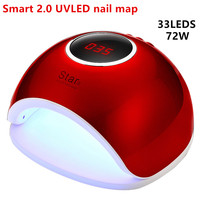 Fast shipping UV GEL Curing Lamps 2018 NEW Smart 2.0 72W UV LED Nail Lamp Gel Curing Light