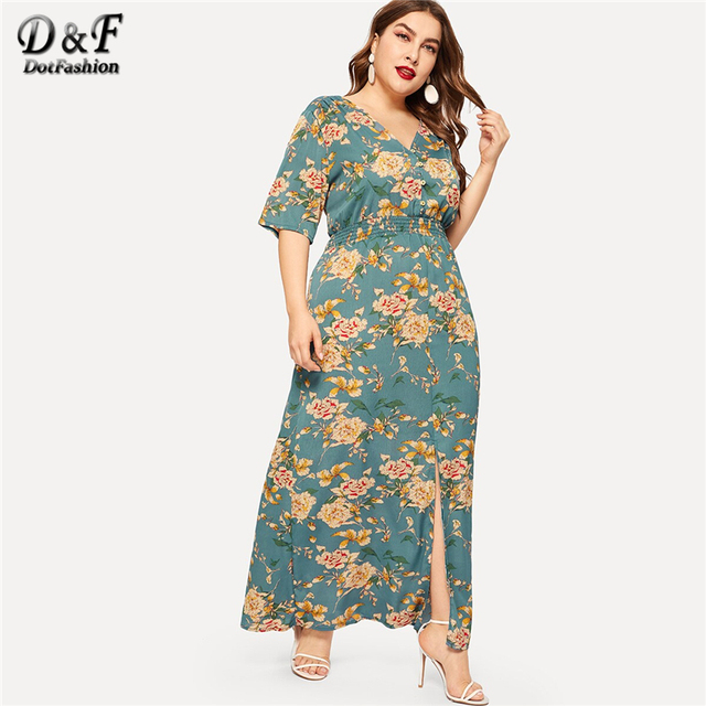 Dotfashion Plus Size Green Floral Print Split Dress Women 2019 Boho Summer V Neck Half Sleeve A Line High Waist Maxi Dresses