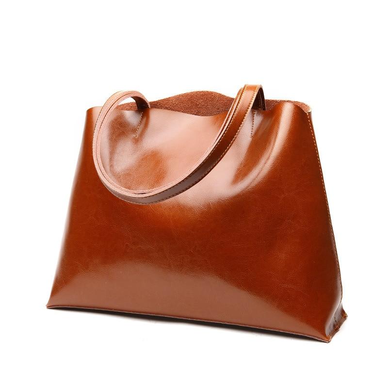 все цены на 100% Genuine leather Women handbags 2018 New Fashion Shoulder Bag Brown Women Bag Vintage Tote Bag Office Ladie Bags Cowhide